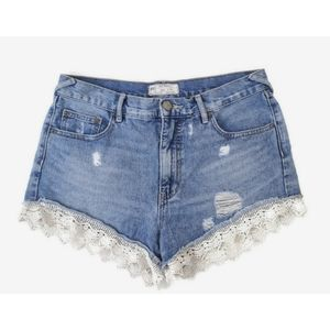 Free People Denim High Waisted Lace Cutoff Shorts